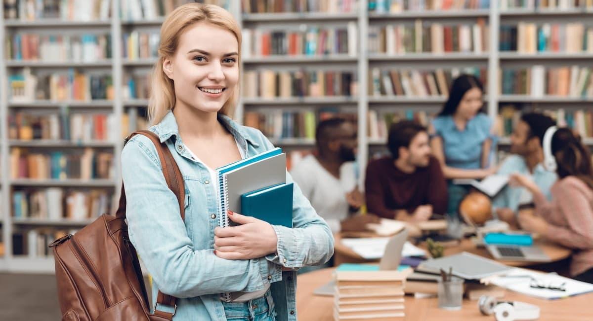 English student at a library