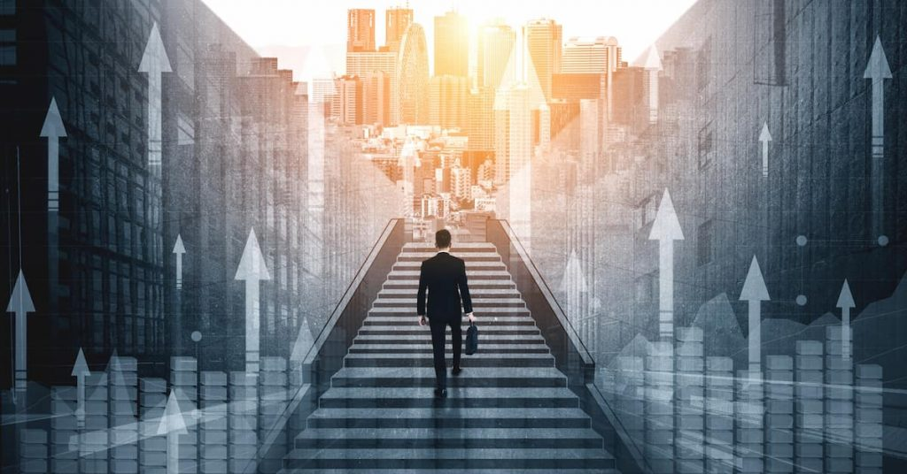 Picture of man walking on a staircase