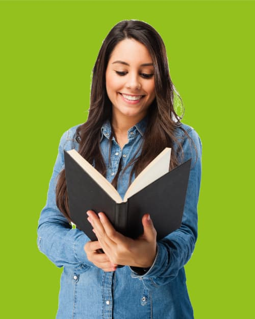 A Girl Holding Book And Smiling