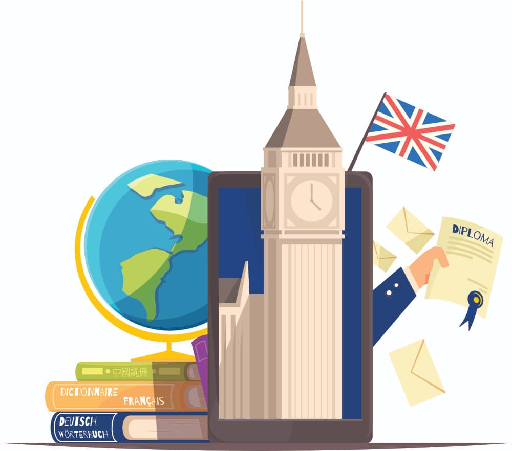 An Illustration Of Books, A Diploma Certificate, And A Mobile Device With Big Ben Coming From It