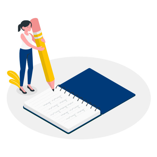 An Illustration Of A Girl Writing On A Big Notebook